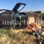 Cinco albañiles lesionados leves en volcadura en las afueras de Vicente Guerrero, Dgo..