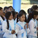 Entrega Antorcha cancha de usos en escuela de Charcos, Mezquital