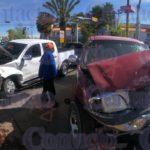 Brutal choque por el Real del Mezquital con dos lesionados y la destrucción de las dos camionetas